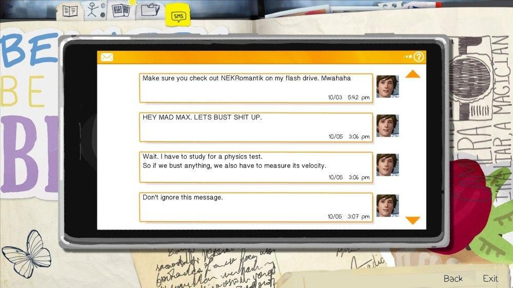 Уоррен, как и другие персонажи, может отправлять SMS-сообщения Макс