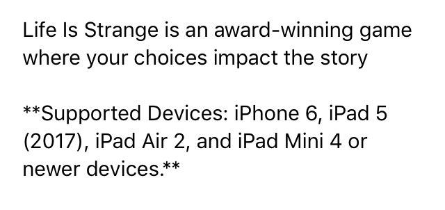 Список рабочих моделей для iOS-версии Life is Strange