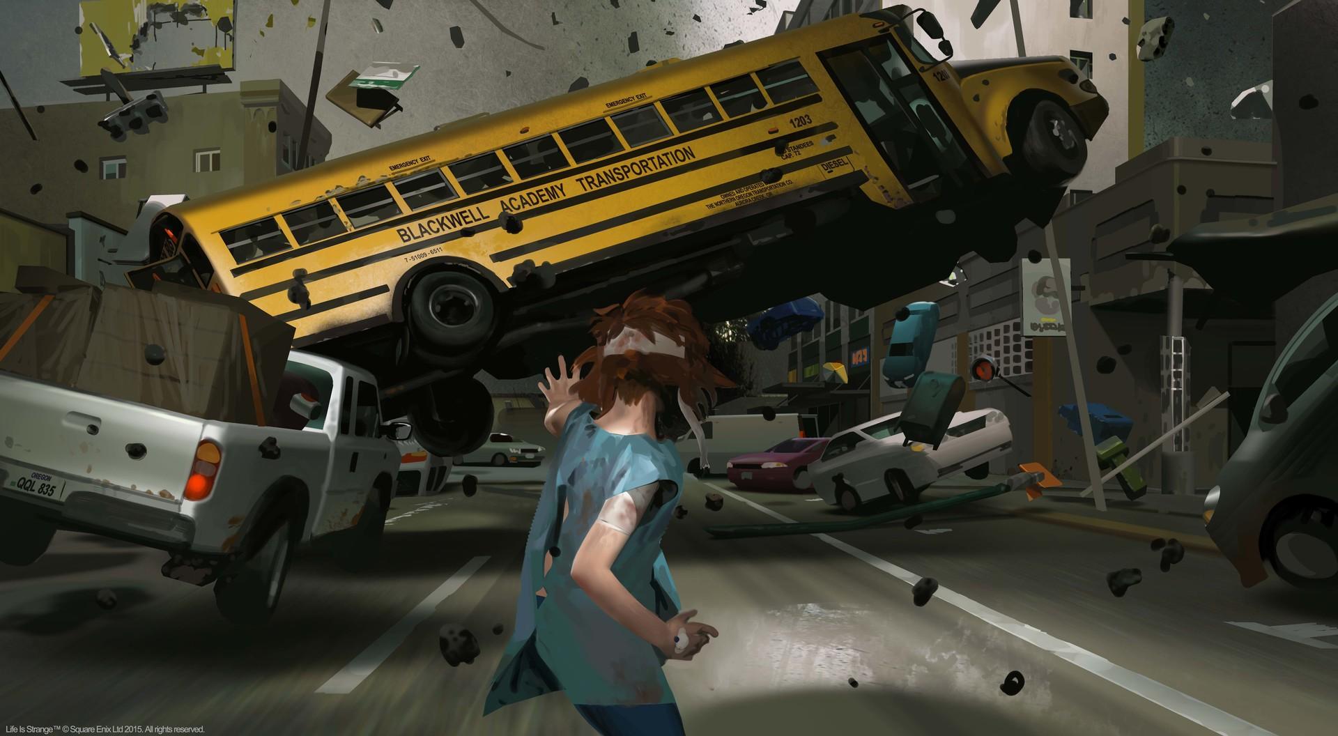Взаимодействие с автобусом: концепт-арт игры Life is Strange (2015)