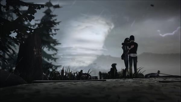 Макс и Хлоя на фоне бури из Life is Strange