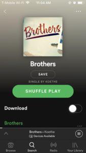 Скриншот раздела песни «Brothers» (Spotify)